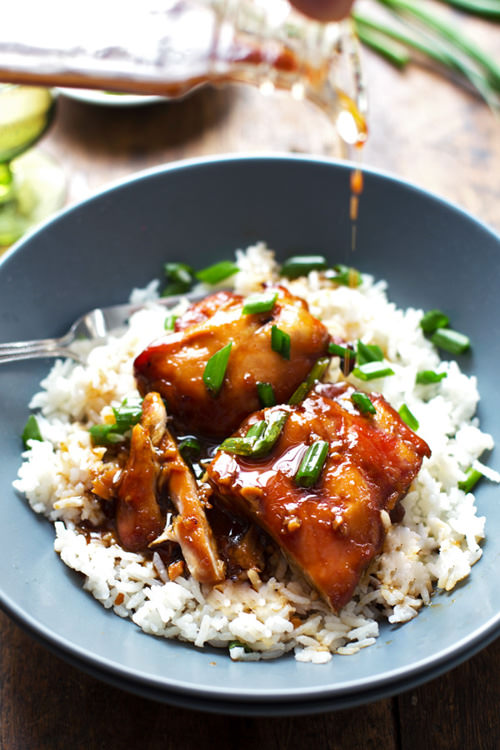 Sticky Bourbon Chicken with Rice | Pinch of Yum