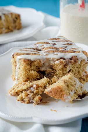 This Caramel Macchiato Coffee Cake is a family favorite, revamped! Tender, cinnamon loaded and perfectly sweet thanks to a secret ingredient!