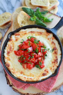 Warm Four Cheese Tomato Basil Dip | Celebrating Sweets