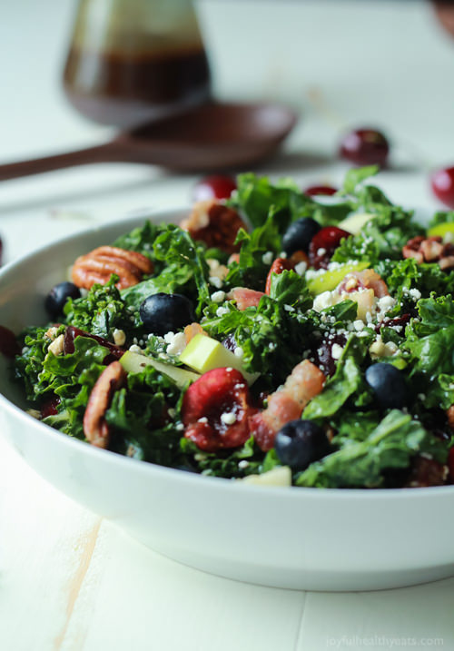 Cherry Summer Kale Salad with Balsamic Vinaigrette