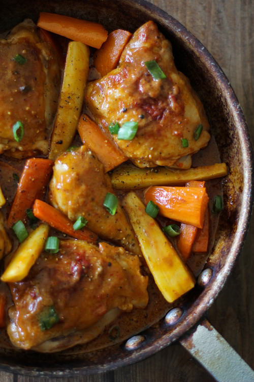 Coconut Harissa Curry Braised Chicken With Root Vegetables   The Roasted Root