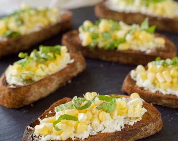 Crisp Corn Crostini on Garlic Baguettes