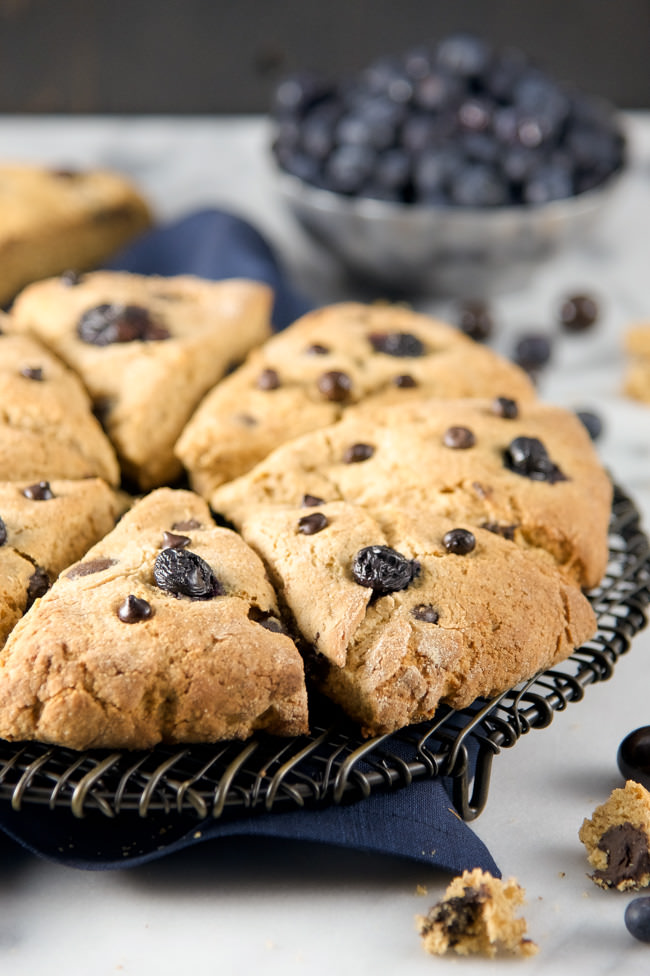 Dark Chocolate Blueberry Whole Wheat Scones are chewy, filled with whole grains, chocolate and juicy blueberries!