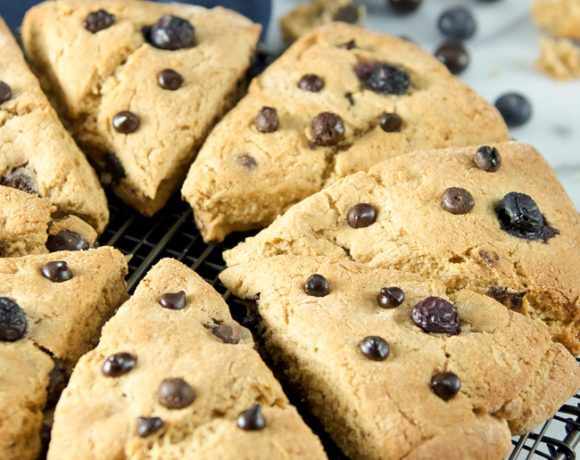 Dark Chocolate Blueberry Whole Wheat Scones