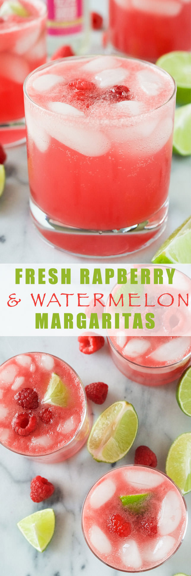 Raspberry Watermelon Margaritas are fruity and lighter thanks to fresh watermelon puree, a skinny simple syrup and the sparkling water topper! Perfect drink to kick your feet up with!