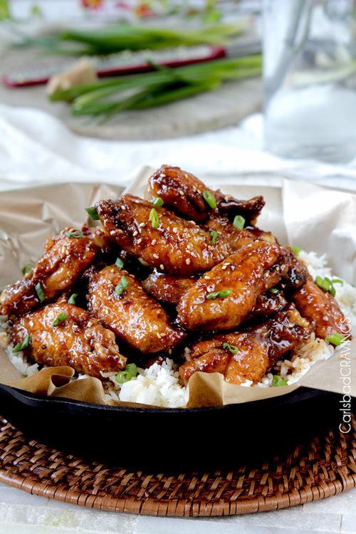 Baked General Tso's Sticky Wings | Carlsbad Cravings