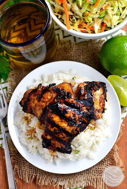 Grilled Chili Honey Lime Chicken Thighs | Iowa Girl Eats
