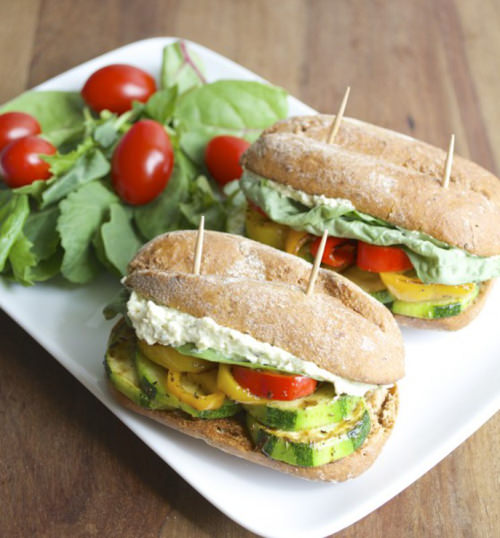 Italian veggie Sliders with Whipped Pesto-Feta Spread