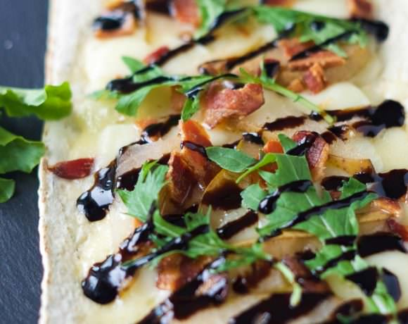Pear, Brie and Bacon Flatbread