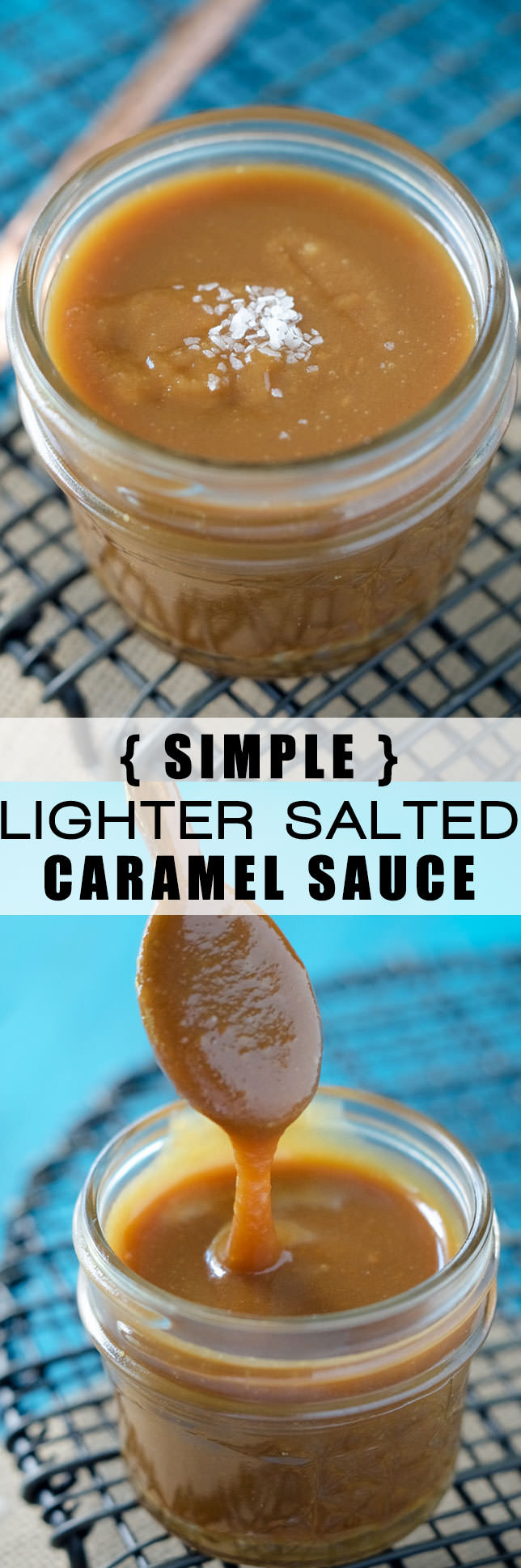This Lighter Salted Caramel Sauce couldn't be any easier to make and is lightened up! Perfect for drizzling over ice cream, cake or just by the spoonful!