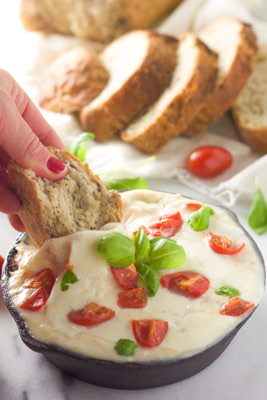 Skinny Hot Cheesy Caprese Dip | With Salt and Wit
