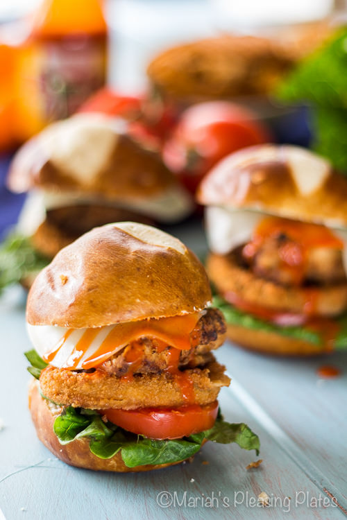 Fried Chicken Buffalo Pretzel Sliders | Mariah's Pleasing Plates