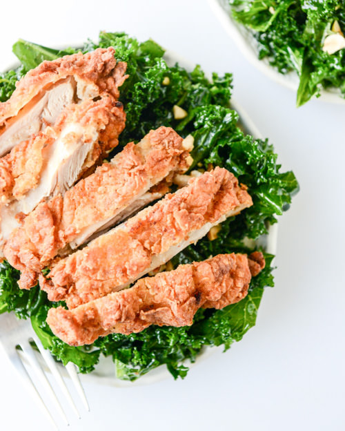 Shredded Kale Salad with Fried Chicken | How Sweet Eat