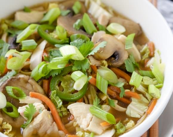 Chicken Udon Bowls are a Japenese chicken noodle soup! Made with juicy chicken, udon noodles, tender crisp vegetables all in a ginger broth with a bit of spice. An easy, yet delicious dinner!