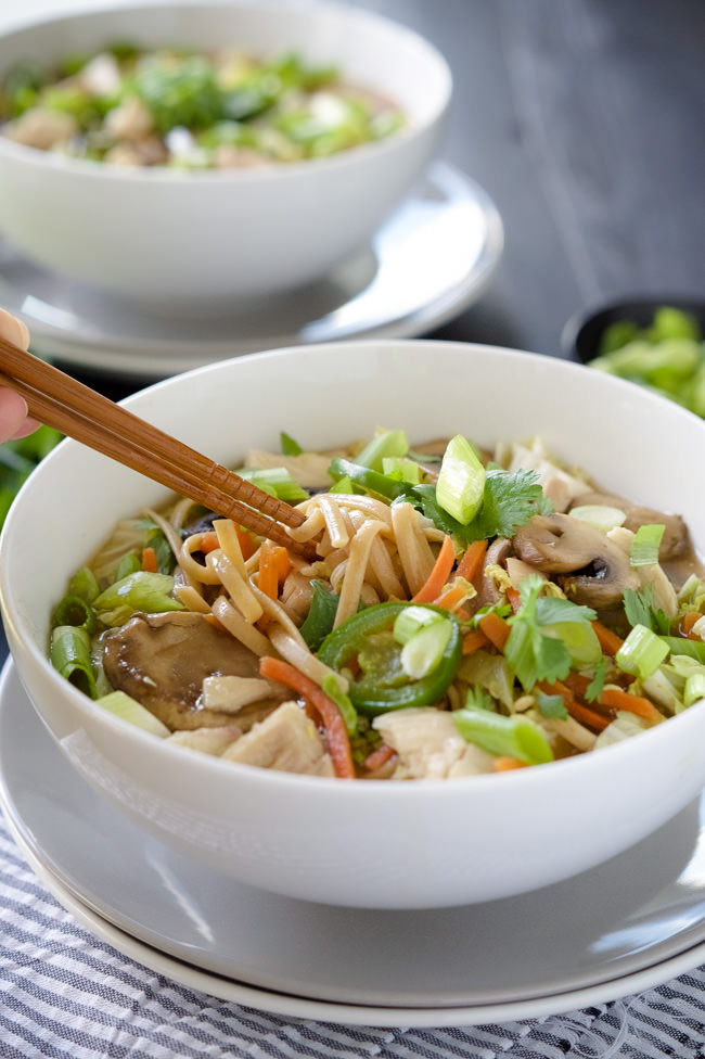 Japenese chicken noodle soup! Made with juicy chicken, udon noodles ...