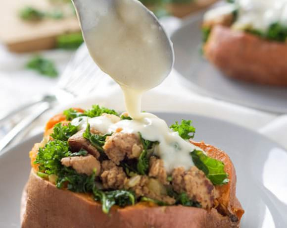 {20 Minute) Kale and Sausage Stuffed Sweet Potatoes with White Cheese Sauce