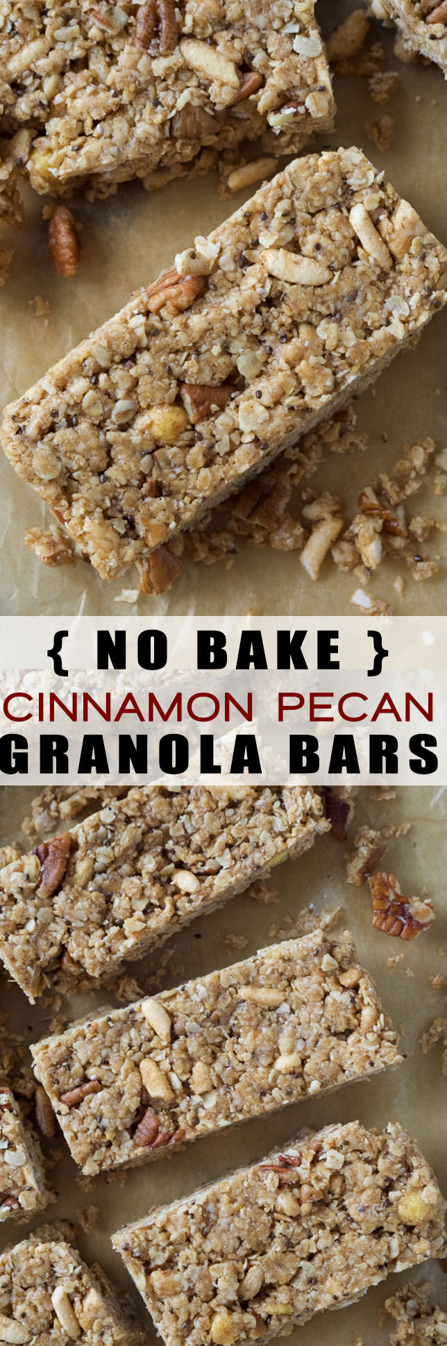 No Bake Cinnamon Pecan Granola Bars
