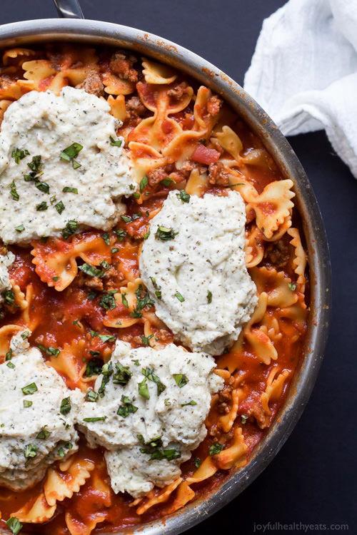 Polka Dot Lasagna Skillet | Joyful Healthy Eats