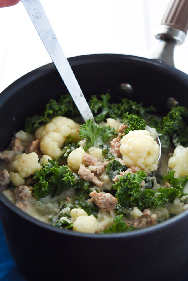A healthy spin on a restaurant classic, this Skinny Zuppa Toscana Soup is lightened up with cauliflower and sweet turkey sausage! And not mention, it's brought together in 30 minutes!