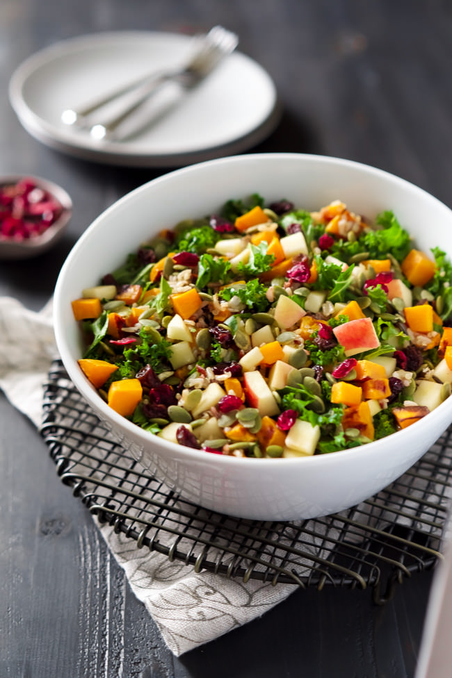 Healthy Easy Fall Salad Recipe | Butternut squash, apples, apple cider vinegar dressing, dried cranberries, Thanksgiving, Holidays, Seeds, Gluten Free, Vegan