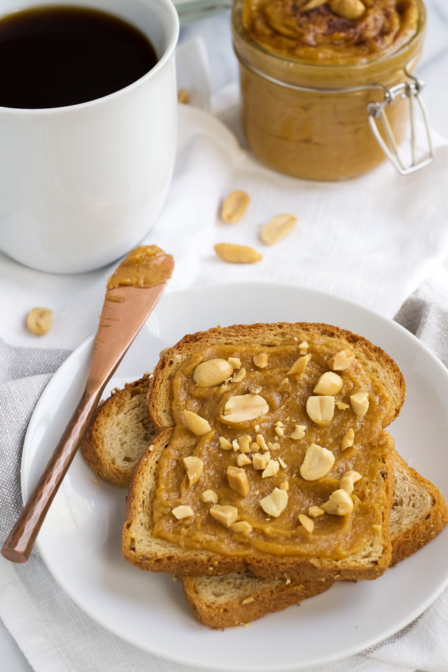 Pumpkin Spice Peanut Butter is a creamy and healthy homemade peanut butter mixed with pure maple syrup and pumpkin spices that will be a delightful treat anytime!
