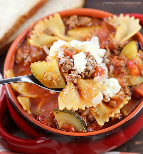 Celebrate cooler weather with an One-Pot Easy Lasagna Soup! It's the perfect comfort food dinner that's a family-pleaser, and all cooked in one pot!