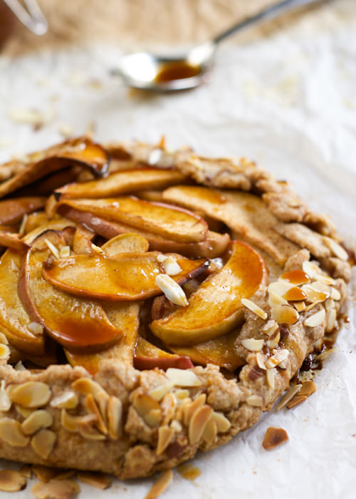 Whole Wheat Ambrosia Apple Galette with Salted Caramel Drizzle | With Salt and Wit