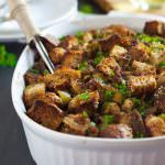 This Caramelized Onion, Apple and Sausage Whole Grain Stuffing is a sweet and savory, flavor-packed stuffing your Thanksgiving table needs. Everyone will love the savory sausage, sweet apples and buttery caramelized onions.