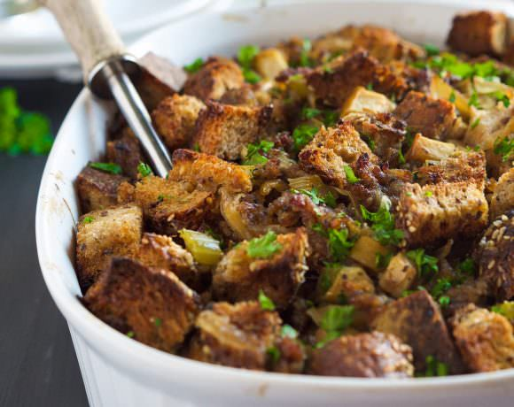Caramelized Onion, Apple and Sausage Whole Grain Stuffing