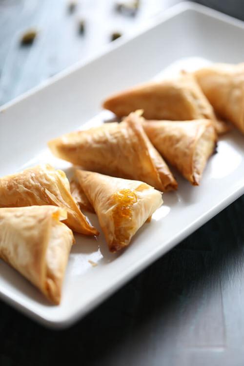 Pistachio & Cream Cheese Fillo Triangles | Lemons for Lulu