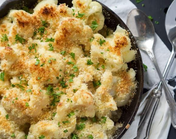 Garlic Gouda and Parmesan Cauliflower Au Gratin