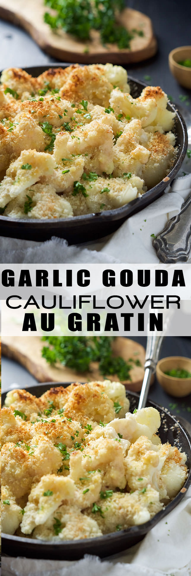 Garlic Gouda & Parmesan Cauliflower Au Gratin is the perfect side dish for you holiday table but easy enough for any weeknight dinner! Tender cauliflower blanketed in a double cheese sauce and crunchy panko topping!