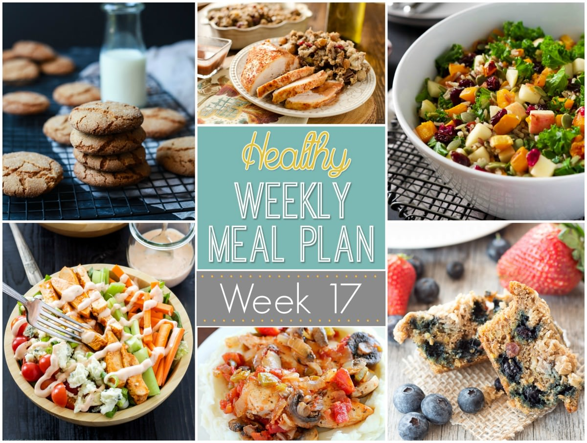 Healthy Weekly Meal Plan for Thanksgiving week includes a delicious brined turkey breast that is crazy juicy and a light and an easy stuffing recipe loaded with sweet cranberries and crunchy pecans for the perfect side dish for your holiday table!