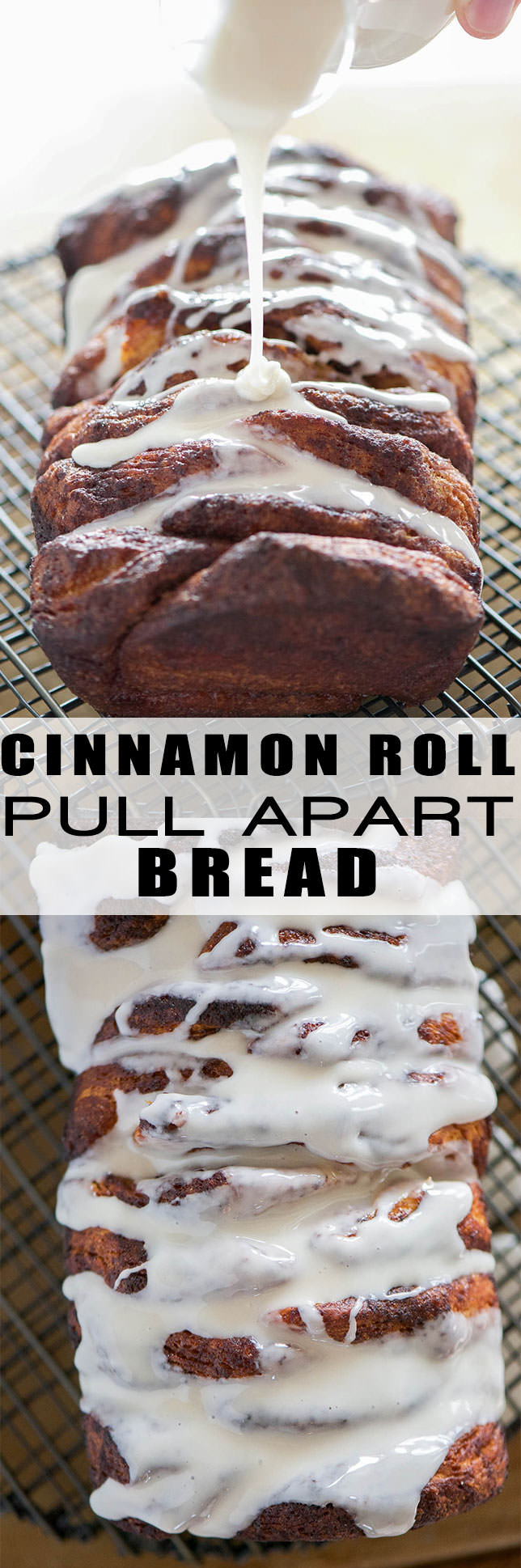 Lightened Up Cinnamon Roll Pull Apart Bread as the ooey gooey flavor of your favorite sweet rolls, but in an easy and fun loaf form! Flakey biscuits layered with a lightened up cinnamon sugar mixture and drizzled in a delicious glaze! The perfect treat for any morning!