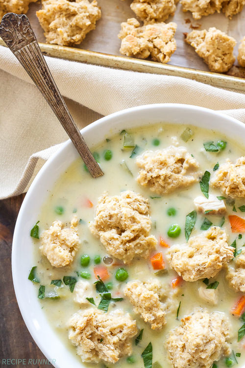 Chicken Pot Pie Soup with is a fun twist on traditional chicken pot pie is to turn it into a bowl of comforting soup! The biscuit crumbles are an easy and tasty topping that gives you a piece of ÒcrustÓ in every bite!