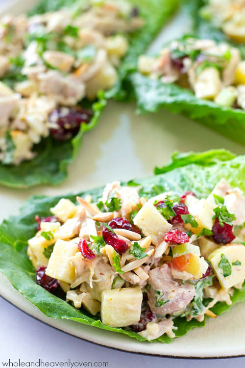Curried Apple Cranberry Chicken Salad Lettuc Wraps are extra-creamy and loaded with crunchy apples and cranberries, this colorful chicken salad makes the perfect filler for these beautiful and healthy lettuce wraps!