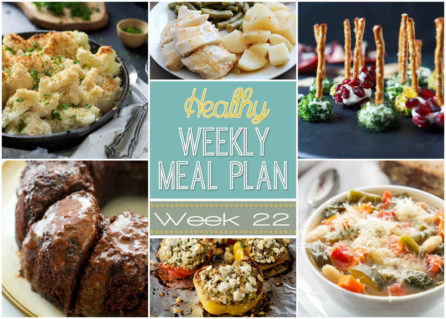 Healthy Weekly Meal Plan #22 starts off with comforting dishes such as Honey Roasted Butternut Squash and Crispy Buffalo Chicken Salad!