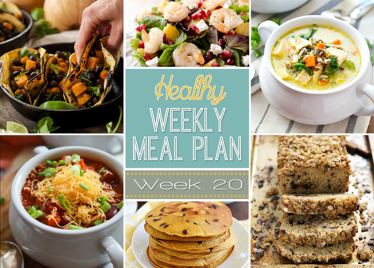This weeks Healthy Meal Plan is filled with comfort food like Creamy Leftover Turkey Wild Rice Soup and banana bread for snacking!