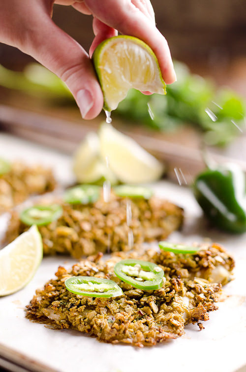 Baked Tortilla Crusted Tilapia is a light and healthy dinner idea with a crunchy tortilla crust full of spicy southwestern flavors and is ready in less than 30 minutes!