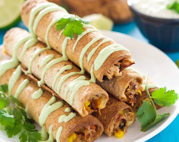 Cheesy Firecracker Baked Chicken Taquitos