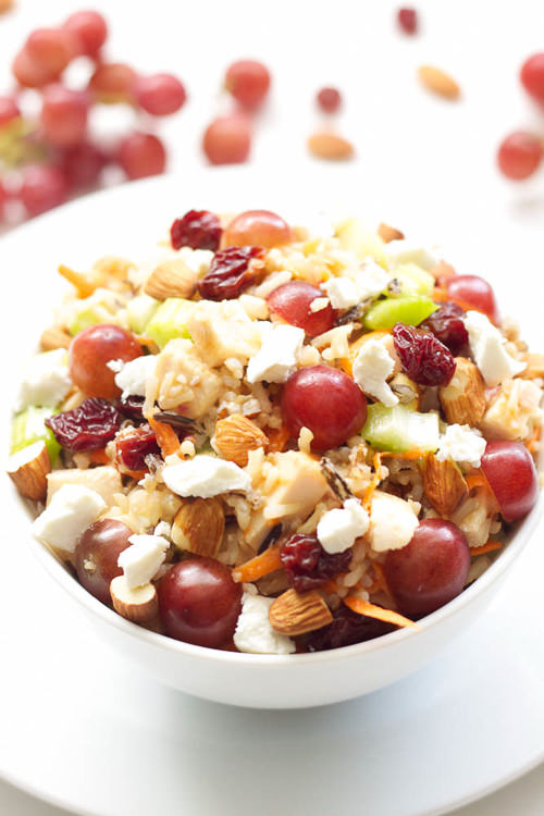 Crunchy, sweet, tangy, nutty, chewy, this Chicken and Wild Rice Salad has it all!