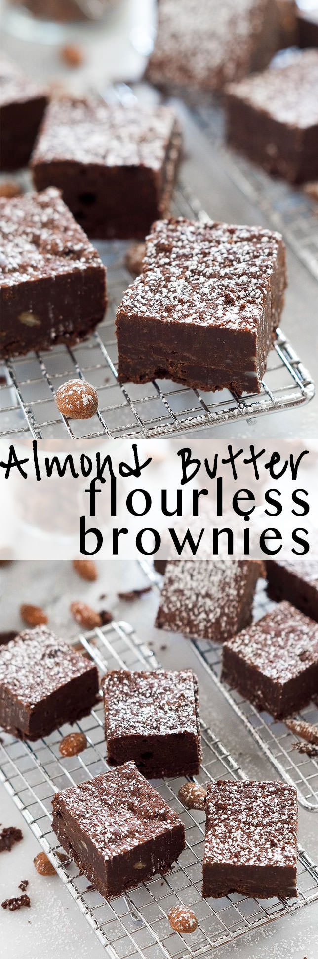 Rich and Fudgy Almond Butter Flourless Brownies are the perfect dessert that come together quickly and are lightened up with a few ingredient swaps!