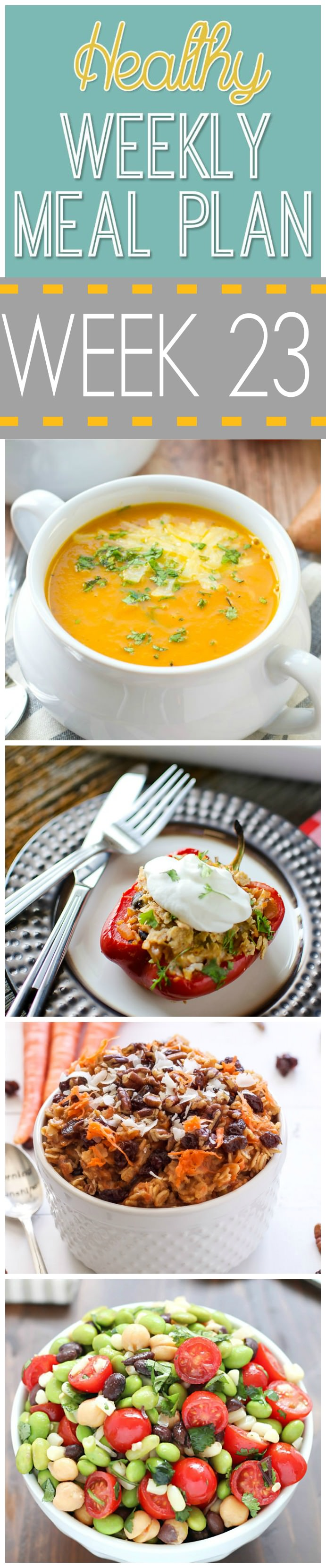 Healthy Menu Plan starts strong with a week filled of comfort food, such as Sweet Potato Apple Soup, Slow Cooker Hawaiian Pork Burrito Bowls, Chicken Pot Pie Pizza!