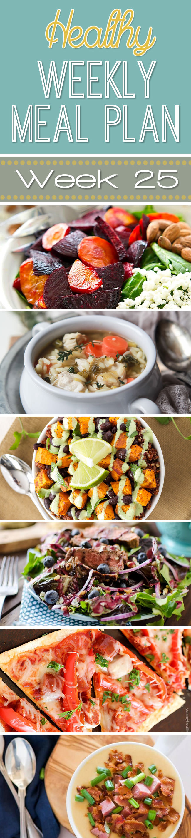 This week's meal plan includes delicious meals, such as the Sweet Potato and Black Bean Quinoa Bowls! There is not one thing I don't like so its a sure winner. And the Healthy Cashew Butter Cookie Dough Bark? There may not be enough to go around!