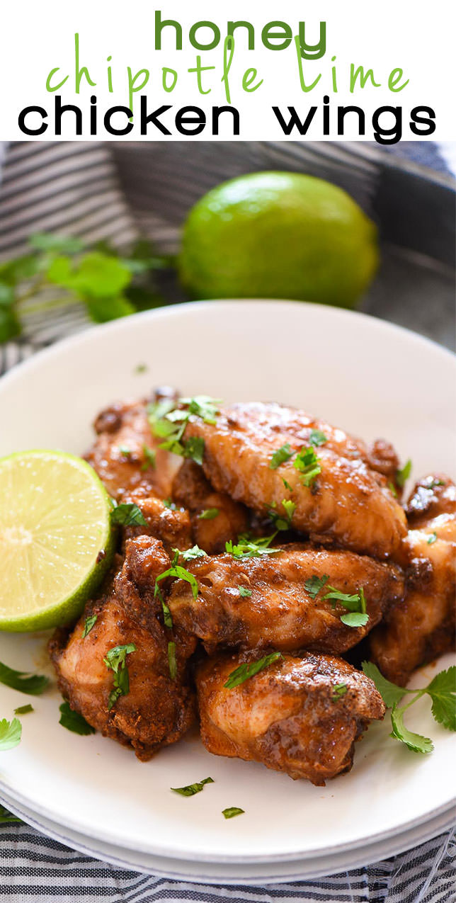 Honey Chipotle Crispy Baked Wings are an easy and healthy game dish! They are coated in a spicy chipotle rub, baked to crispy perfection then smothered in a honey lime sauce!
