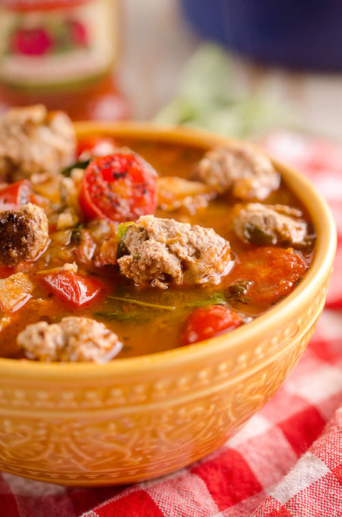 Light Tomato Basil Meatball Soup is a hearty and health dinner filled with lean meatballs, fresh tomatoes and basil! It will leave you feeling warmed up and satisfied!