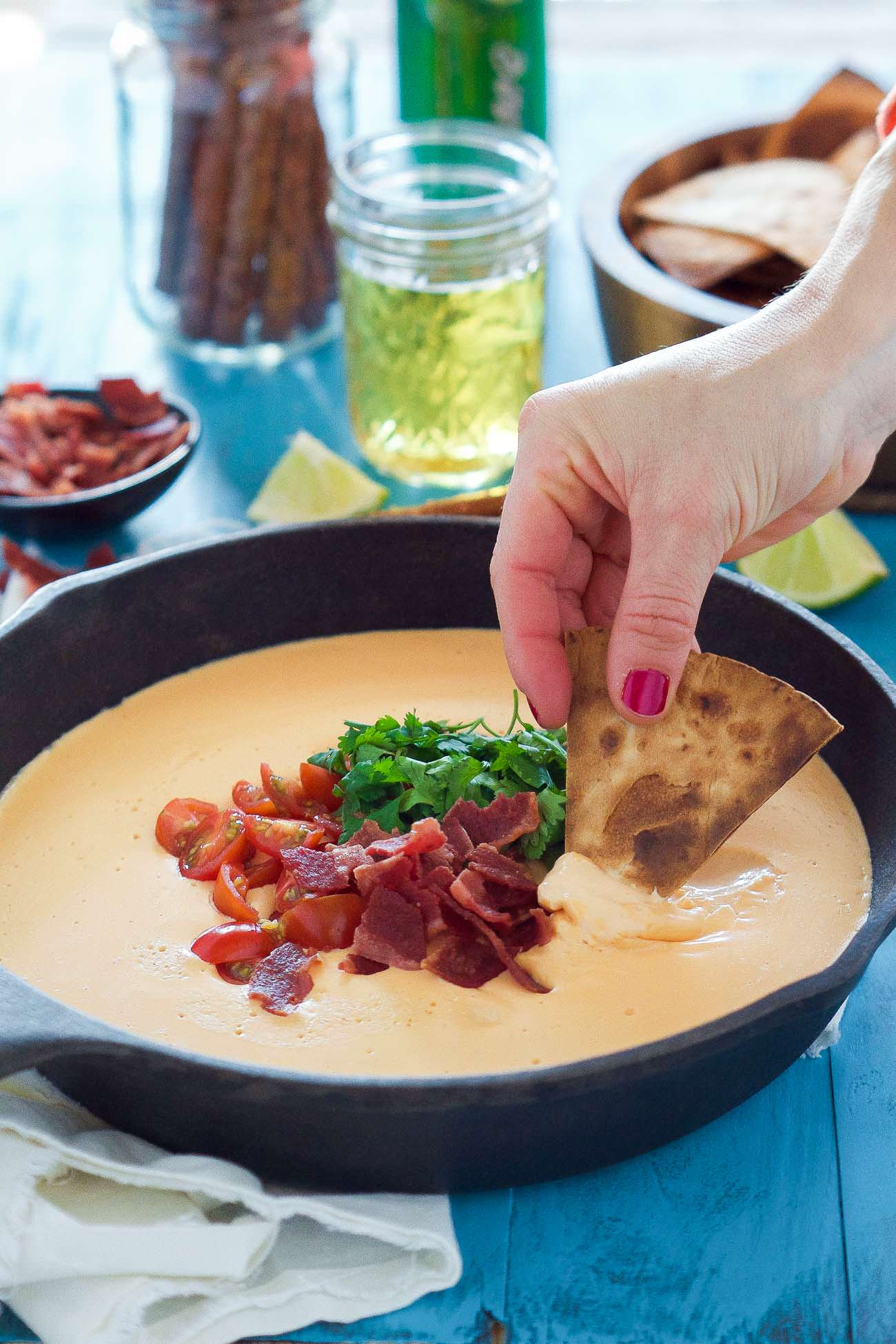 Sriracha White Bean Dip with Sesame Pita Chips - Inquiring