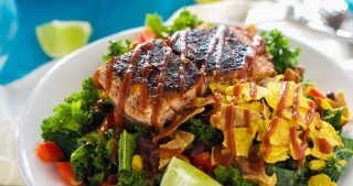 BBQ Salmon Kale Salad with Honey Chipotle Vinaigrette