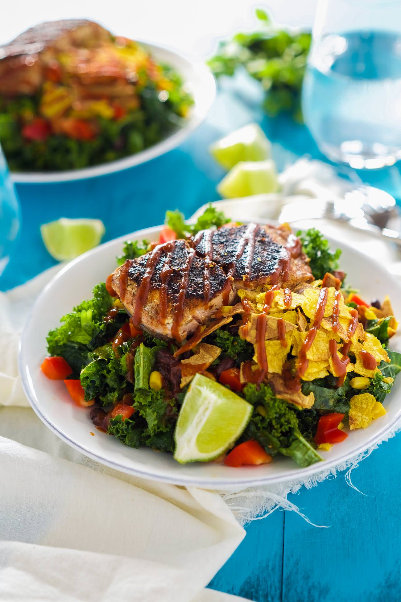 Bbq Salmon Kale Salad Is A Healthy And Updated Version Of The Classic Bbq Salad