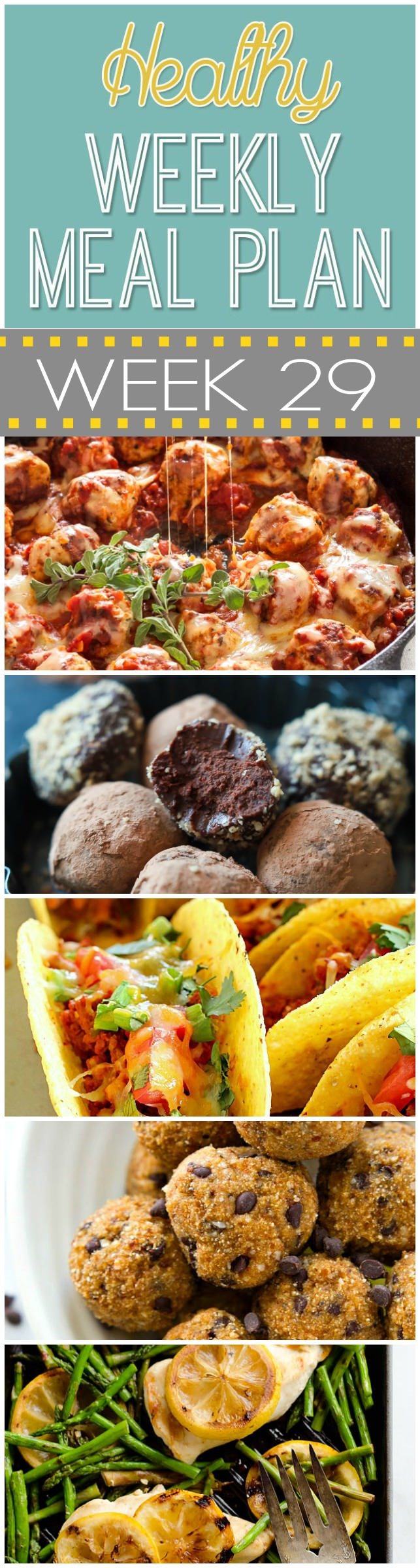 Another awesome menu up for you! We start our week with Garlic Brown Butter Spaghetti Squash - so cheesy and filling! Then to make sure we get our chocolate fix, we have 4 Ingredient Decadent Healthy Chocolate Truffles - perfect way to end any day!
